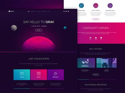 Grav space flat design app clean colorful flat-file cms ui ux minimal landing page