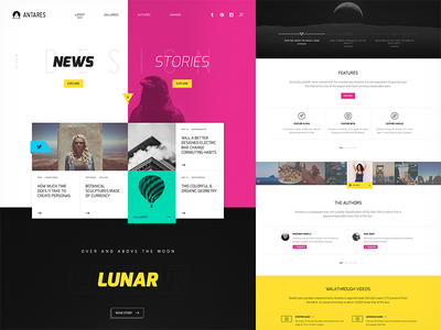 Antares app rockettheme joomla template ux user experience user interface web design design ui minimal clean