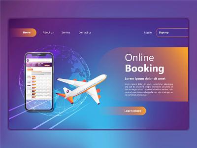 Online Booking illustration app concept dribbble vector background illustrator flat booking online ui  ux design webpage