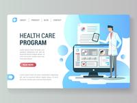 Web page design template health care program.