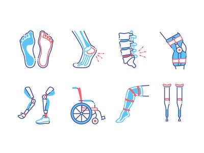Orthopedic color icons set.