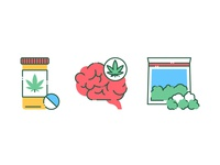 Marijuana products color line icons.