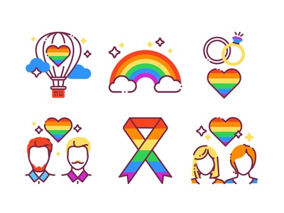 LGBT pride color line icons set