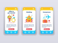 Marriage on mobile app onboarding screens.