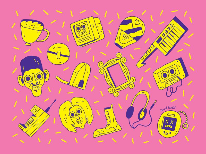 90s Season pattern illustration character cartoon 90s