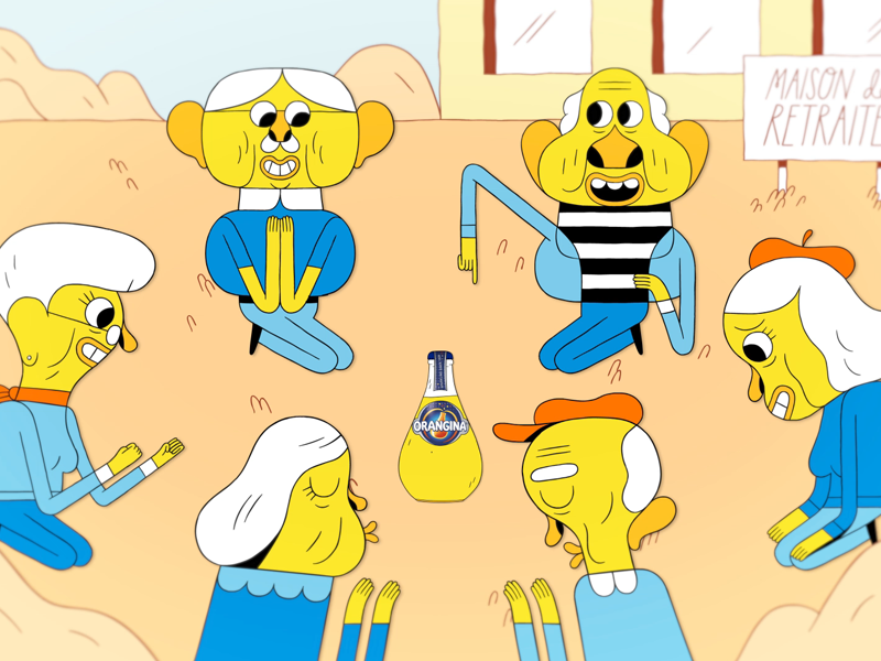 Orangina Spin commercial character broadcast animation