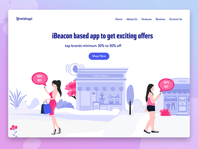 iBeacon based app to get exciting offers deals offers trend ibeacon app development ux ui shopping mall illustration ibeacon