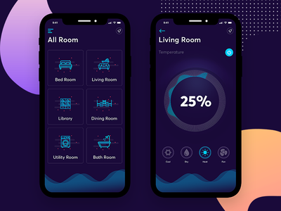 Smart Home ui smart rooms iphonex ios home electrical dashboard dark control automation app