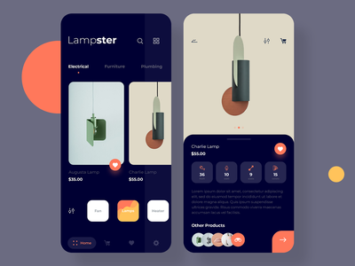 Lampster app minimal ecommerce shopping app design mobile design ux ui dark ios app lamp
