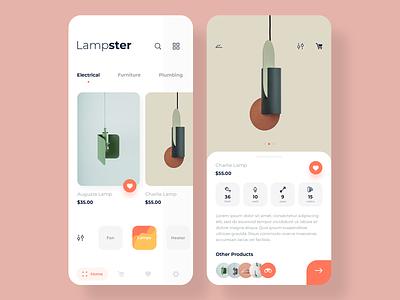 Lampster app minimal shopping mobile design ux ui cards ios light lamp lampster app design app