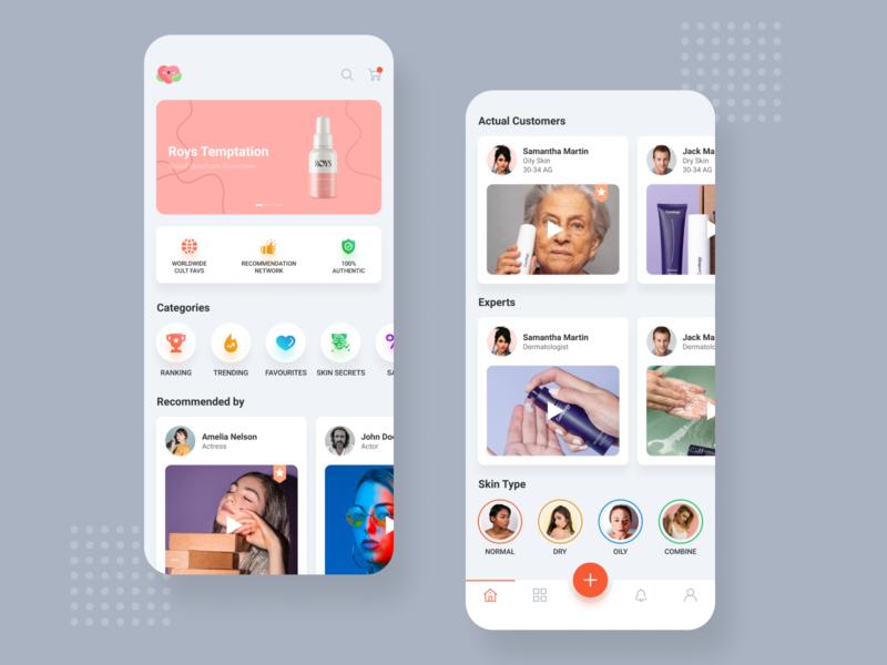 Cosmetic app light home screens app designer cosmetics beauty app app screens app design app