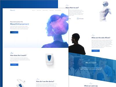 Neurostimulation Device neuro medical health landing  page webdesign design ux ui