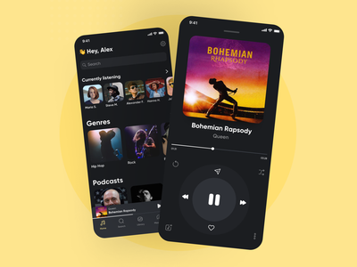 Music Streaming Service subscription player songs music streaming music ios design ux ui