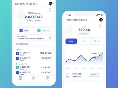 Ethereum Wallet UI Concept ui app cpin cryptocurrency cryprto wallet ethereum
