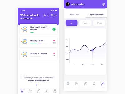UpLift health activity depression graphic ios mobile app design design ux ui