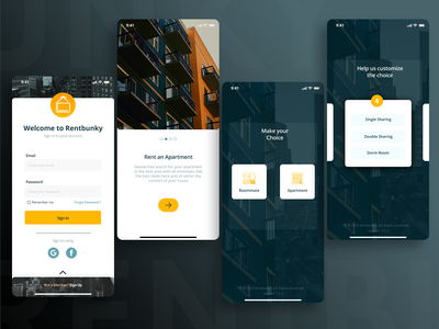 RentBunky App - Renting house and Finding roommate made easy rent app colors modern ui modern design ui  ux uidesigner rental app uidesign uidesignpatterns design