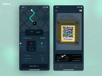 Pedo - Bike Rental App ( Part 2 ) dark app dark mode app payment app scan app ux booking app ui ios app bike app rental app bike rental app