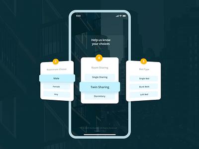 Onboarding of House Sharing App - Rentbunky roommate app roommate onboarding ui rental app rental ios app