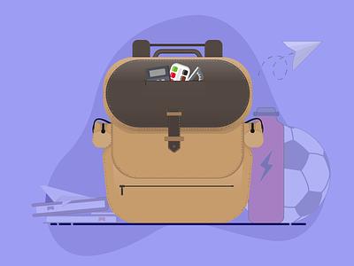 Backpack Illustration icon illustration school props stationery backpack illustration 2d illustration