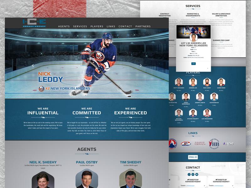 Ice Hockey Agency javascript html5 css photoshop web design