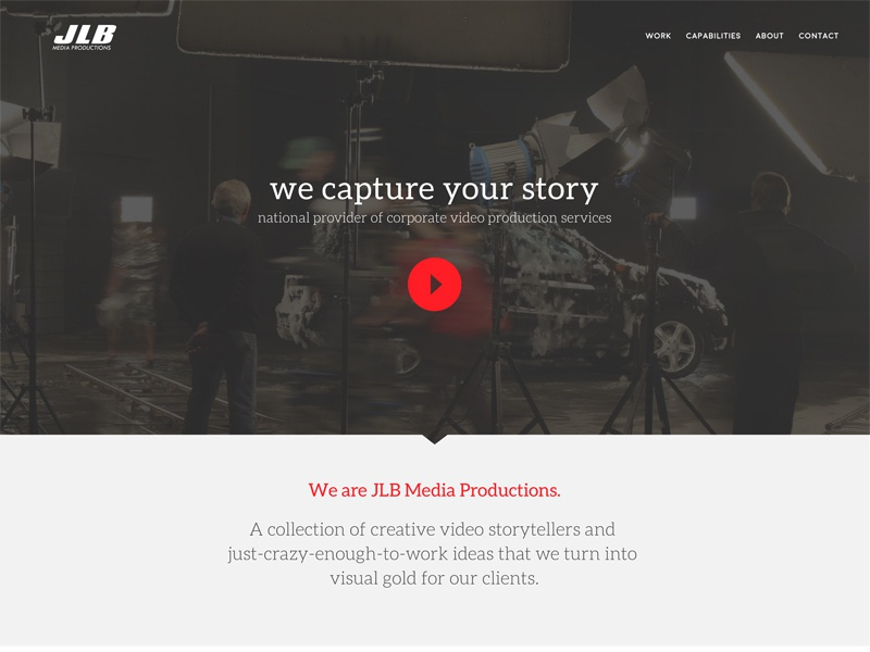 JLB Media Productions - Homepage video film production new look homepage web design