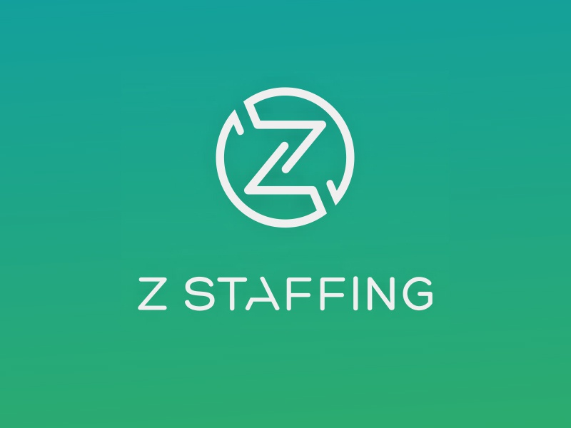 Z Staffing logo + identity design medical modern type identity staffing green branding logo