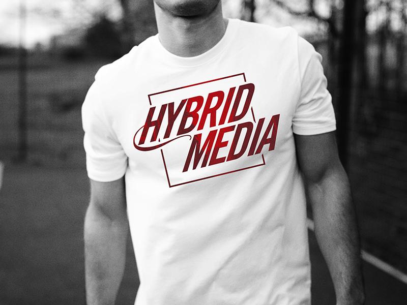 Hybrid Media T-shirt clean logo branding tee apparel shirt tshirt t-shirt