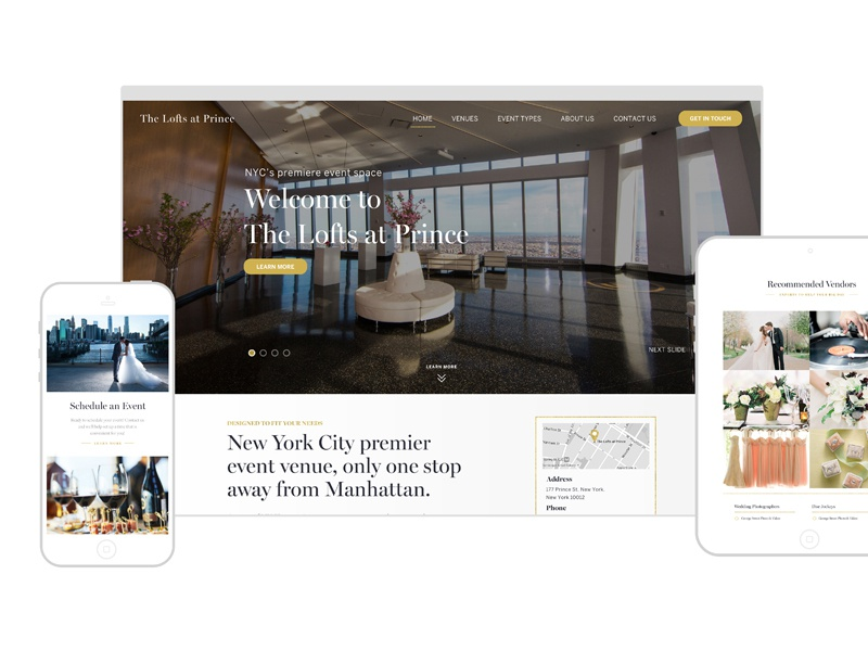 The Lofts at Prince sophisticated luxury elegant gold location event venue clean web design