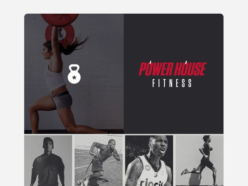 Power House Fitness Logo athletic sports under armor reebok nike dribbble red bold logo crossfit fitness