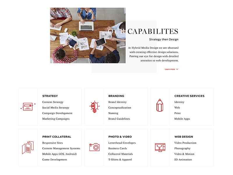 Capabilities Section - Web Design icons services capabilities branding strategy video photo web print agency