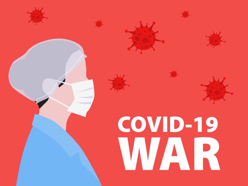 COVID-2019 war corona virus doctor mask nurse war covid illustration