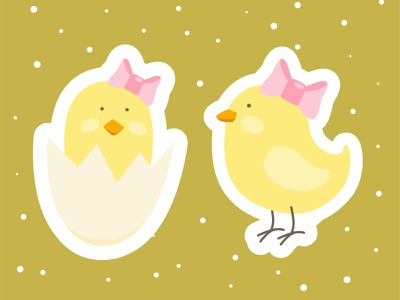 Easter little chickens. Vector baby shower stickers bsby shower baby cute children kid easter stickers stickers eggshell egg chicken easter illustrator vector illustration