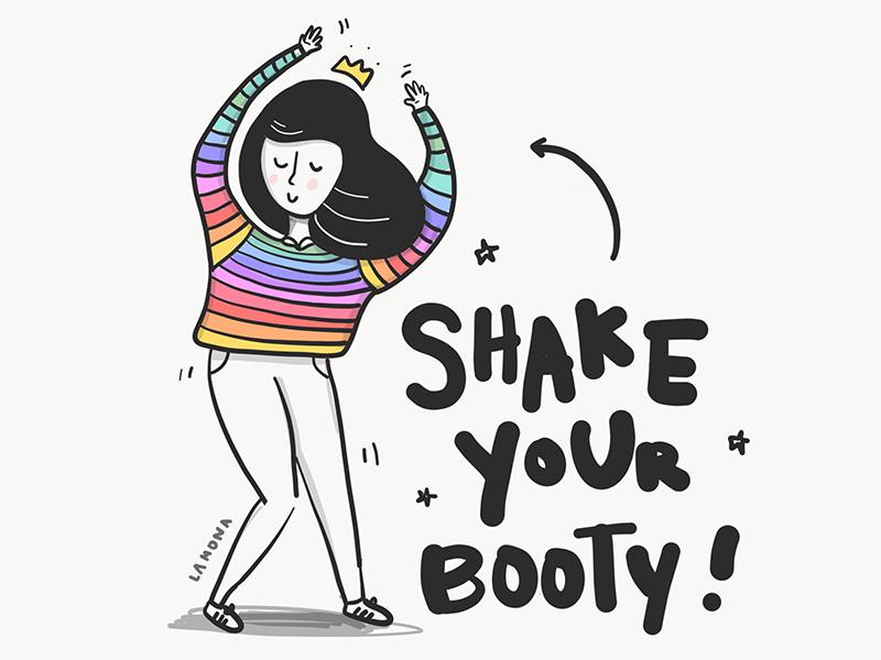 Shake Ur Booty sketch digital art fashion lettering drawing women girls black and white doodles illustration