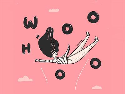 Woo-hoo sketch digital art fashion hand drawn typograpgy lettering drawing women girls mood doodles illustration