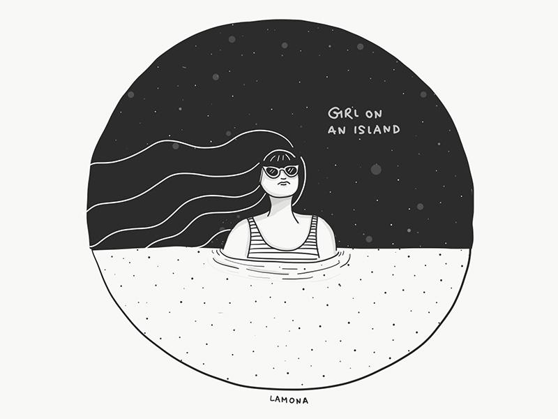 Girl on an island by LaMona Studio on Dribbble