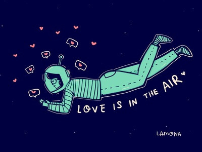 Love is in the air space social media funny work in progress vector icon ui typography design ipad pro character design sketch character illustration freelance comic lettering doodles drawing illustration digital art