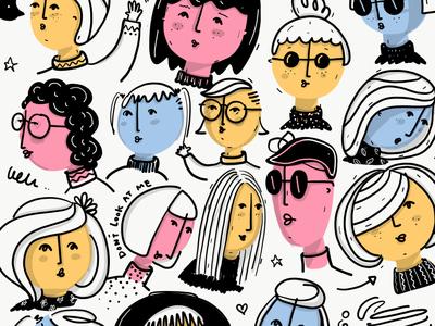 My ladies mood sketch work in progress typography design children illustration ipad pro funny character design character illustration comic women girls fashion black and white lettering doodles drawing illustration digital art