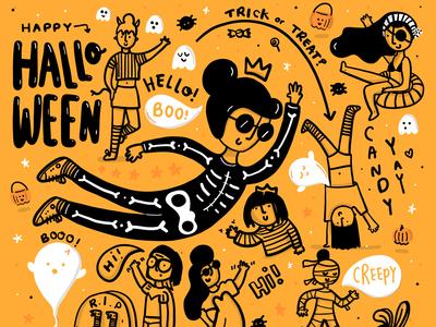 Halloween illustration branding vector sketch typography funny character illustration character design ipad pro freelance children illustration design comic girls black and white lettering doodles drawing illustration digital art halloween design