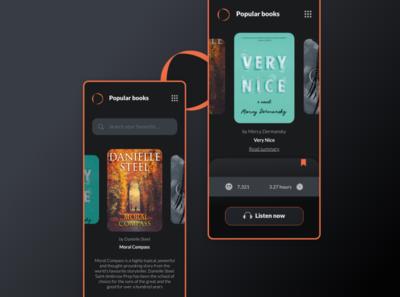 Audio Books  iOS App mobile app design ios app dark ux ui