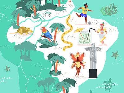 Brazil vector art maps illustrated map brazil vector illustration vector illustration