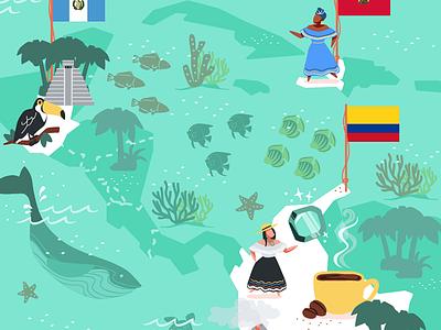 Guatemala, Haiti & Columbia carabbean columbia haiti guatemala maps illustrated map vector illustration vector illustration