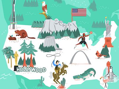 USA usa maps mapa vector illustration illustrated map vector illustration