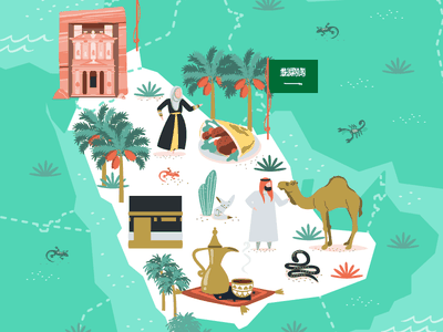 Jordan & Saudi Arabia saudi arabia jordan illustrated map maps map vector illustration vector illustration