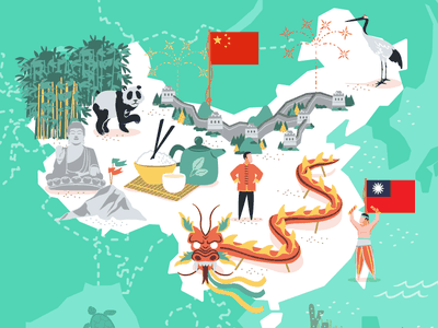 China & Taiwan taiwan china mapa maps illustrated map vector illustration vector illustration