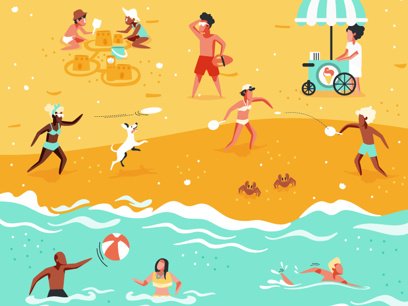 Tourist Beach movespring beach vector illustration vector illustration