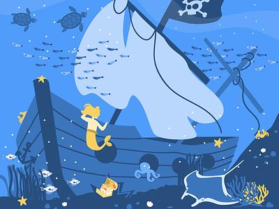 Open Sea movespring mermaid pirate ship underwater vector illustration vector illustration