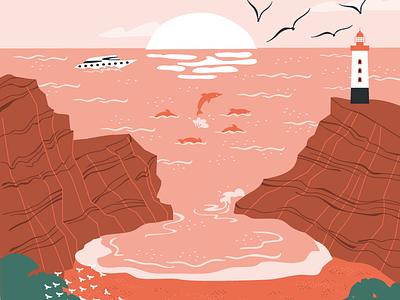 Cove beach sunset vector illustration vector illustration