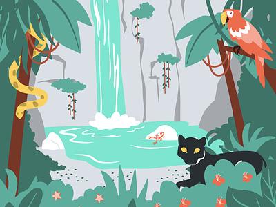 Rainforest Waterfall waterfall rainforest jungle vector illustration vector illustration