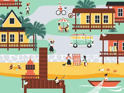 Beach Town fisherman village beach beach town vector illustration vector illustration