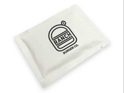 Ranch Burger Company Wipe finger wipe packaging take out company burger ranch